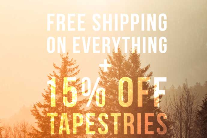 Free shipping + 15% off tapestries