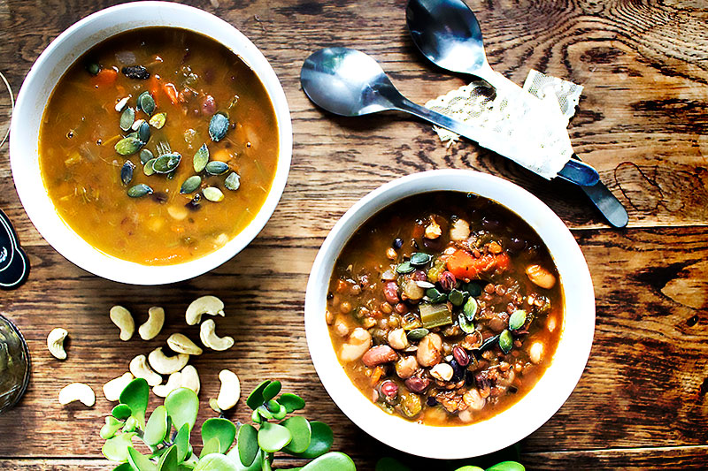 Italian Bean Soup, Vegan and Oil-Free