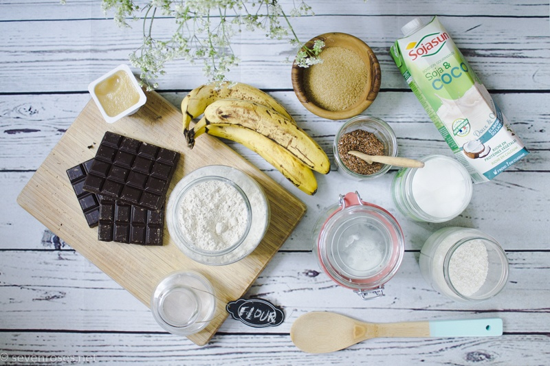 Coconut-Banana bread (one-bowl, Vegan) ingredients