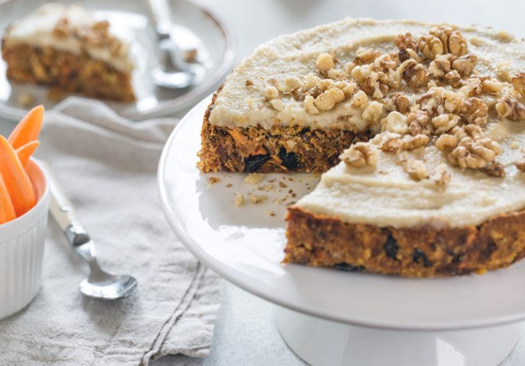 How to Make Vegan Gluten-free Carrot Cake with Cashew Frosting and Walnuts