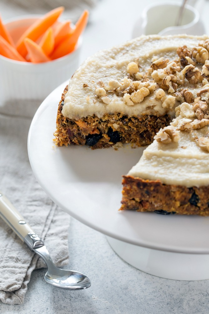 Vegan Gluten-free Carrot Cake with Cashew Frosting and Walnuts