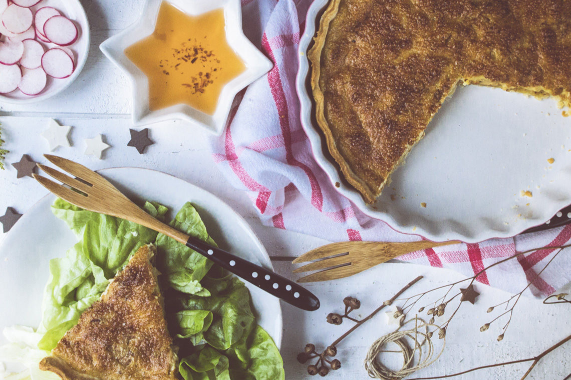 Vegan Quiche Lorraine - perfect for holiday parties!