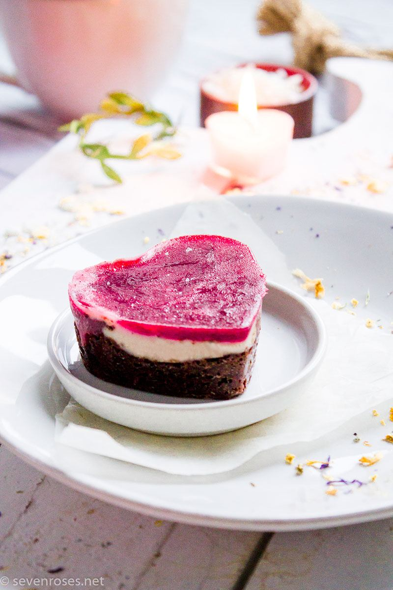 Triple-layer cheesecake hearts