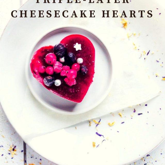 Triple-layer cheesecake hearts