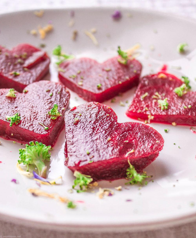 Pink beet carpaccio salad
