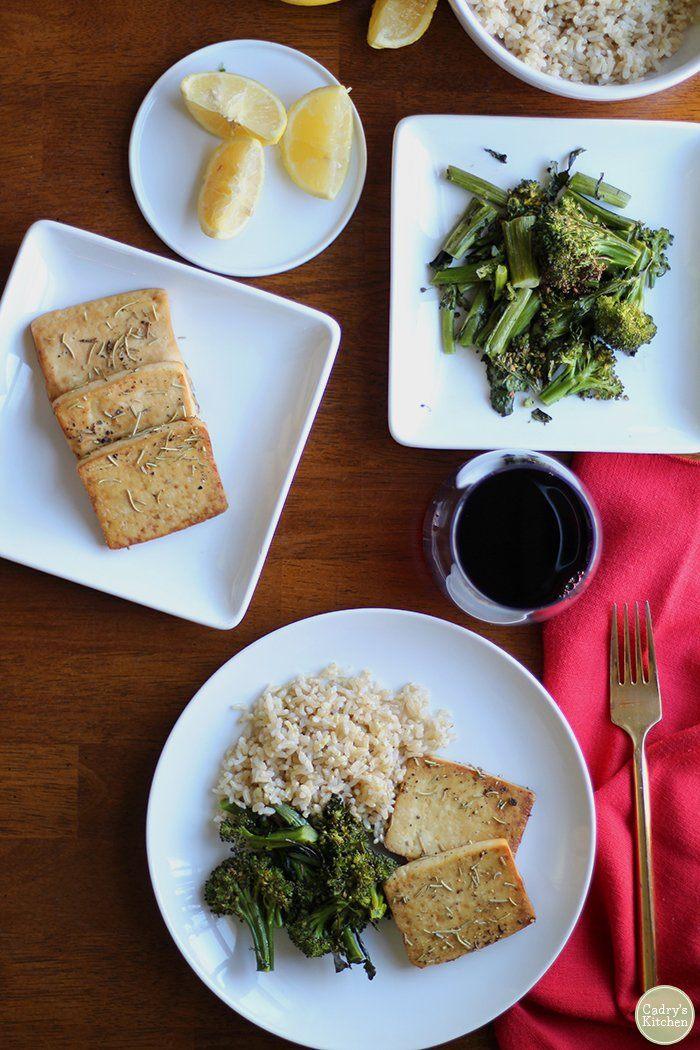 Easy baked tofu recipe with lemon & rosemary