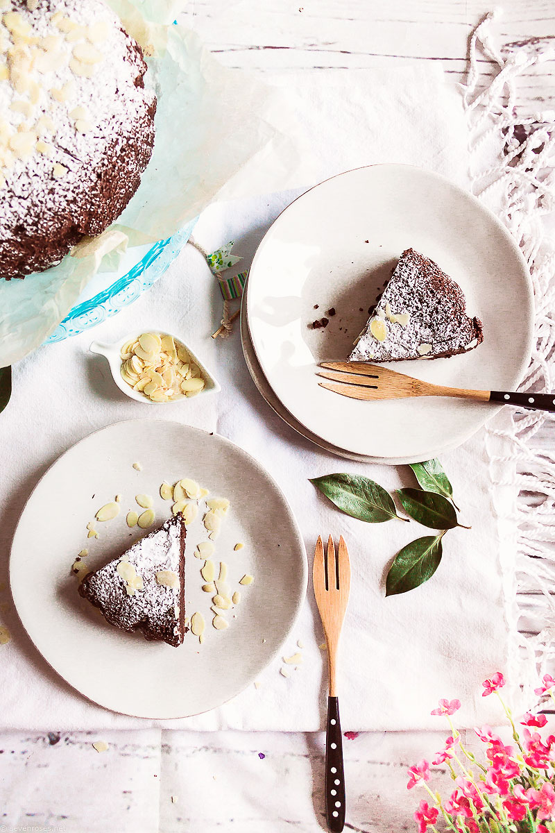 Slices of the gluten-free, almond-based Vegan chocolate cake that I love to make for Spring
