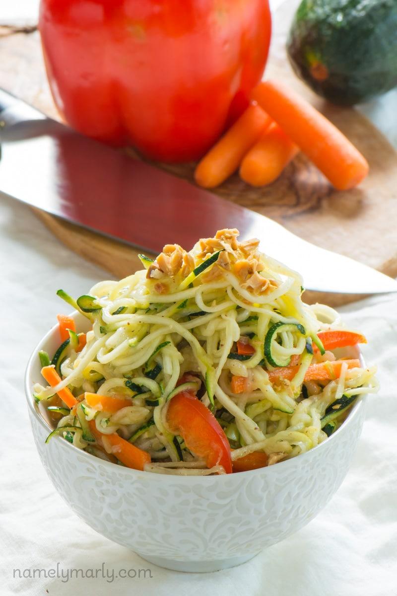 10-Minute Vegan Pad Thai Zucchini Noodles