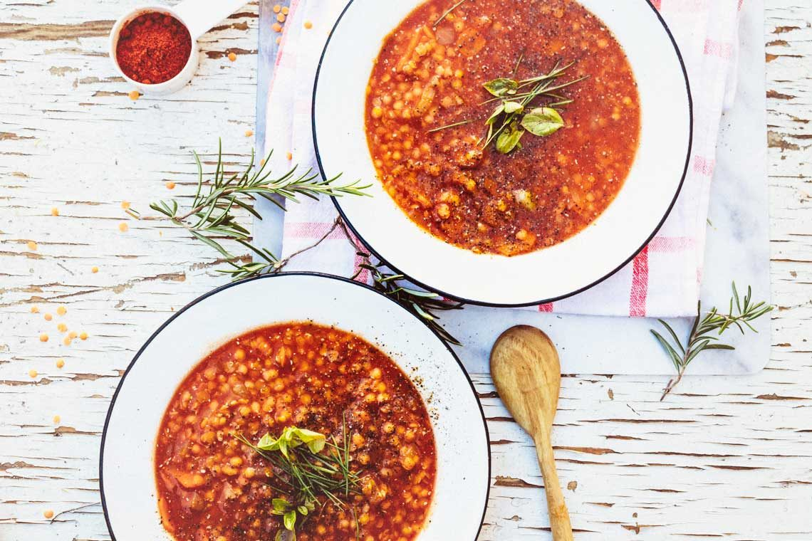 Hungarian red lentil soup from The Vegan 8