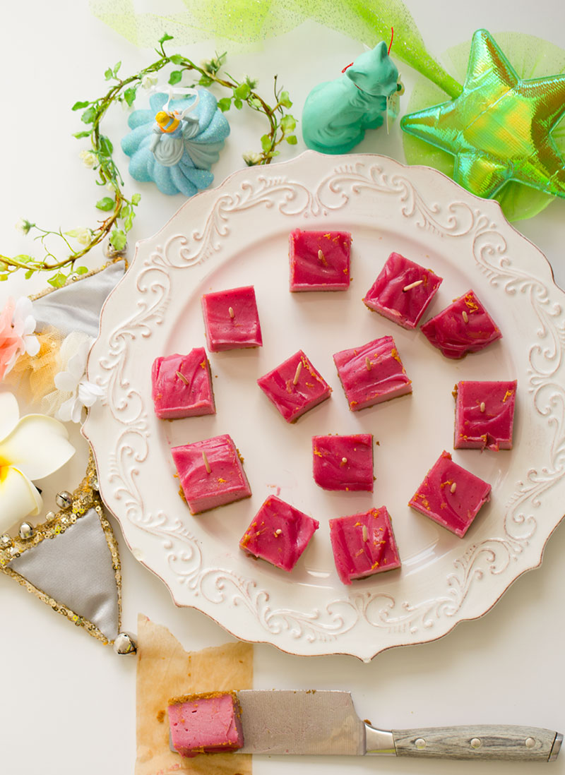 Pink Flamingo Vegan Cheesecake Bars