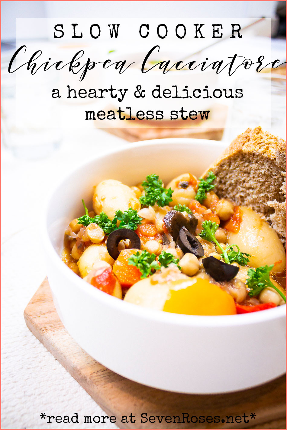 Slow cooker Chickpea Cacciatore: a hearty and delicious meatless stew