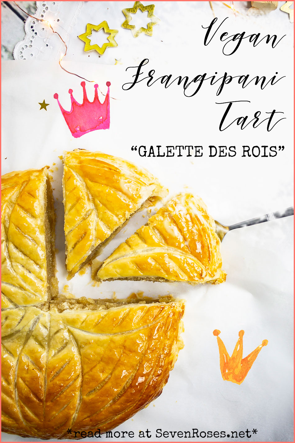 "This delicious Vegan Frangipani tart or ""Galette des Rois"" is an almond frangipani and puff pastry delight. Who will be the king/queen for the day? ♕"