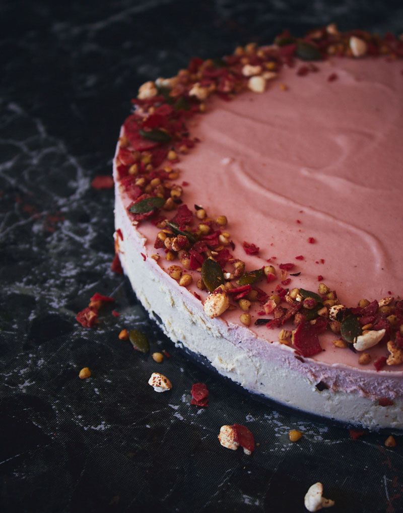 Raw White Chocolate and Rose Cake