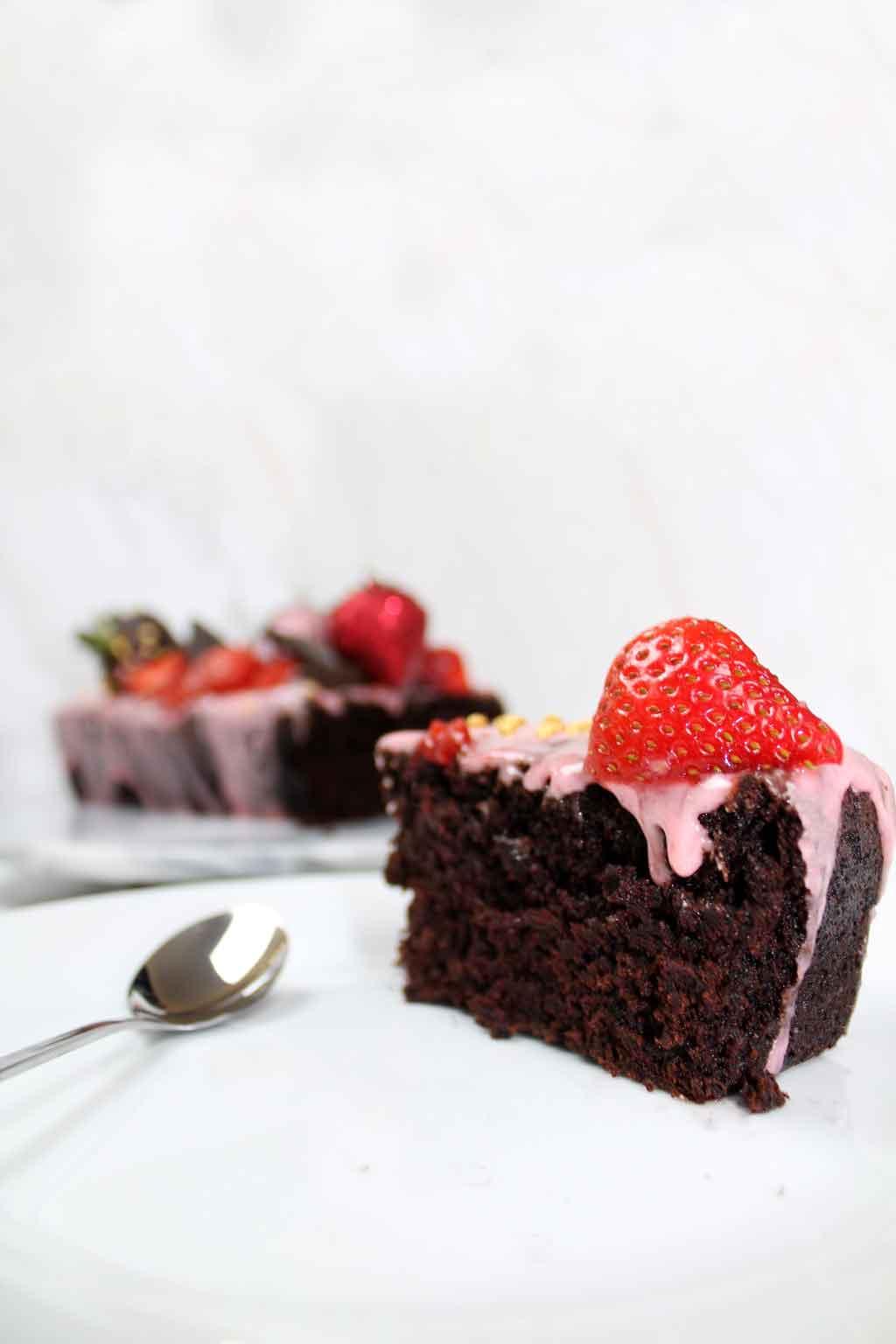 Vegan chocolate strawberry cake