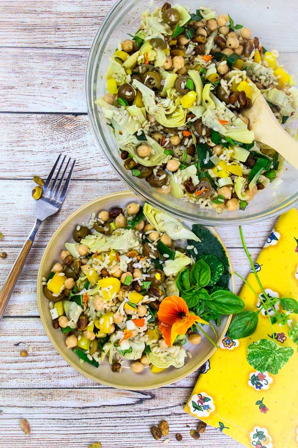 Green and Gold Brown Rice Salad