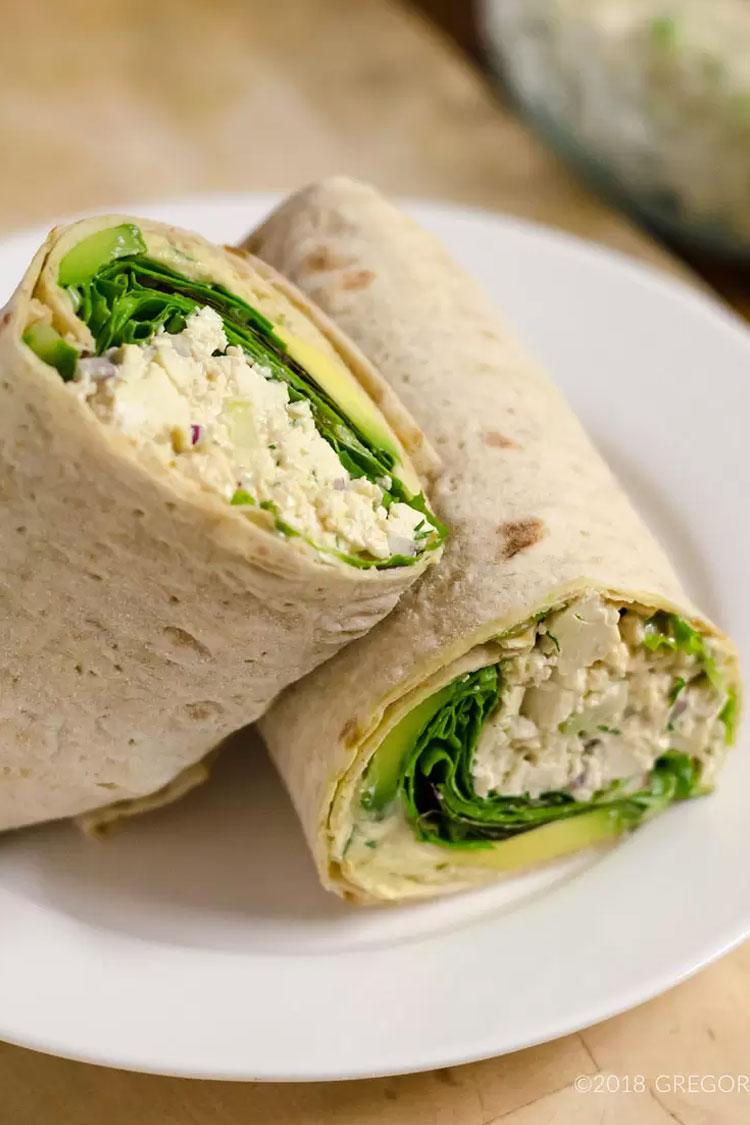 Tofu Dill Salad wraps