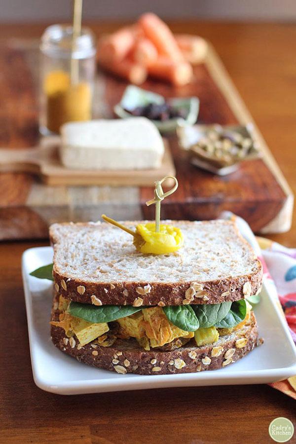 Curried tofu salad sandwich