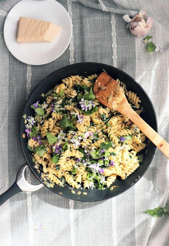 Spring stinging nettle pasta