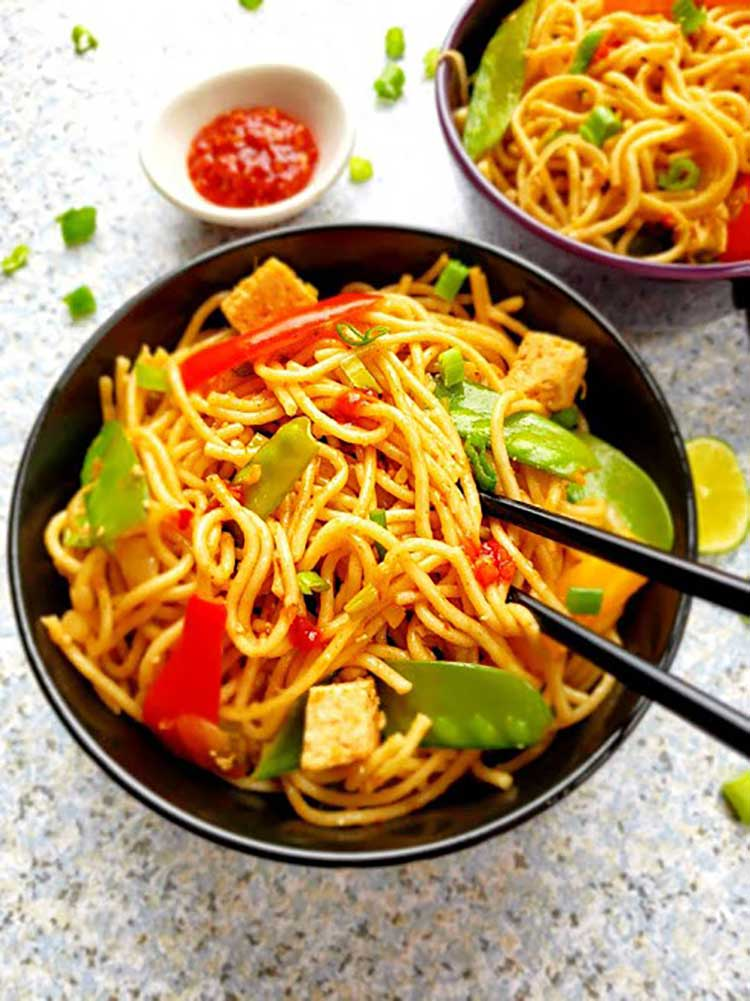 Chili Garlic Chinese Noodles at Profusion Curry