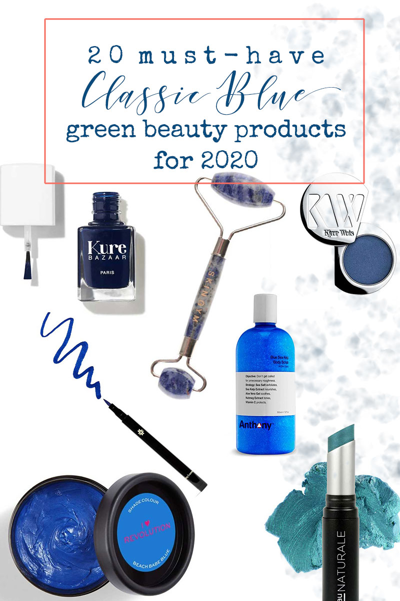 Classic Blue green beauty products pinterest image