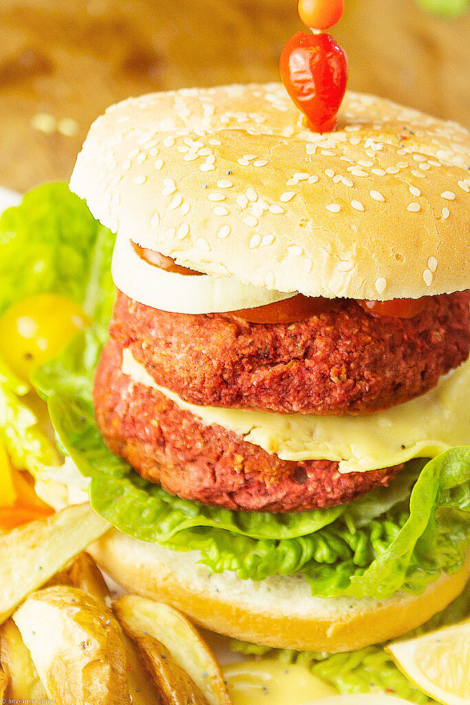 pantry staple chickpea and beet burgers