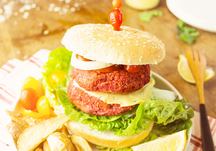 Protein-packed pantry staple chickpea and beet burgers