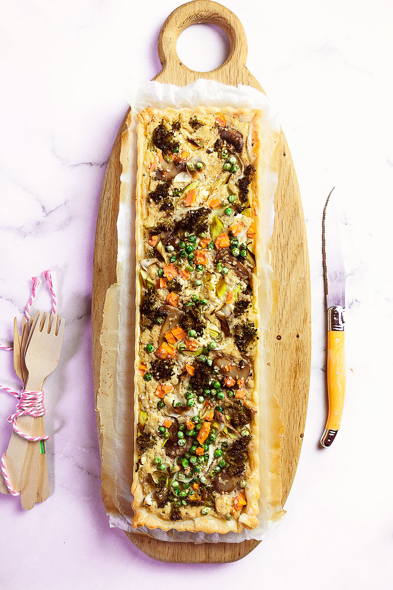 This Vegan Spring Vegetable Tart makes for a great brunch or light lunch with a crunchy side salad.  Serve warm or at room temperature.