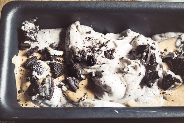 Break the remaining sandwich cookies in big chunks (you might want to reserve a few for serving) and add them to the ice cream. Also add the chocolate chips or chunks.