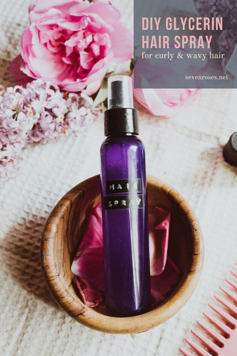 DIY Glycerin hair spray with Aloe Vera and Rose Water for curly and wavy hair