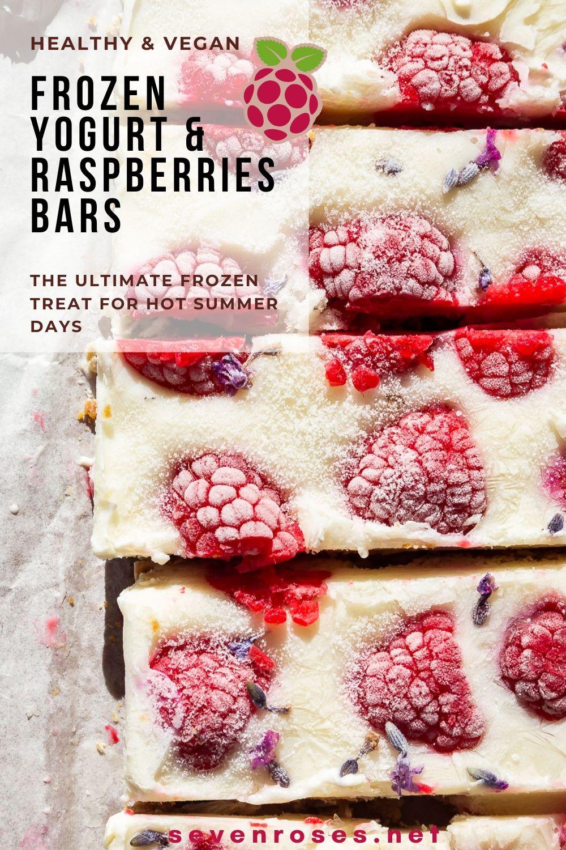 A frozen treat for hot summer days: healthy Vegan frozen yogurt & raspberries bars