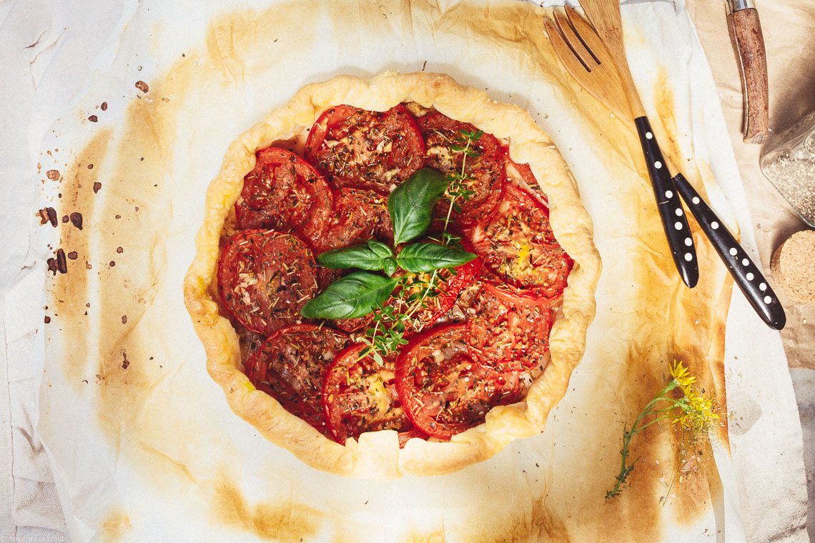 Rustic French tomato tart