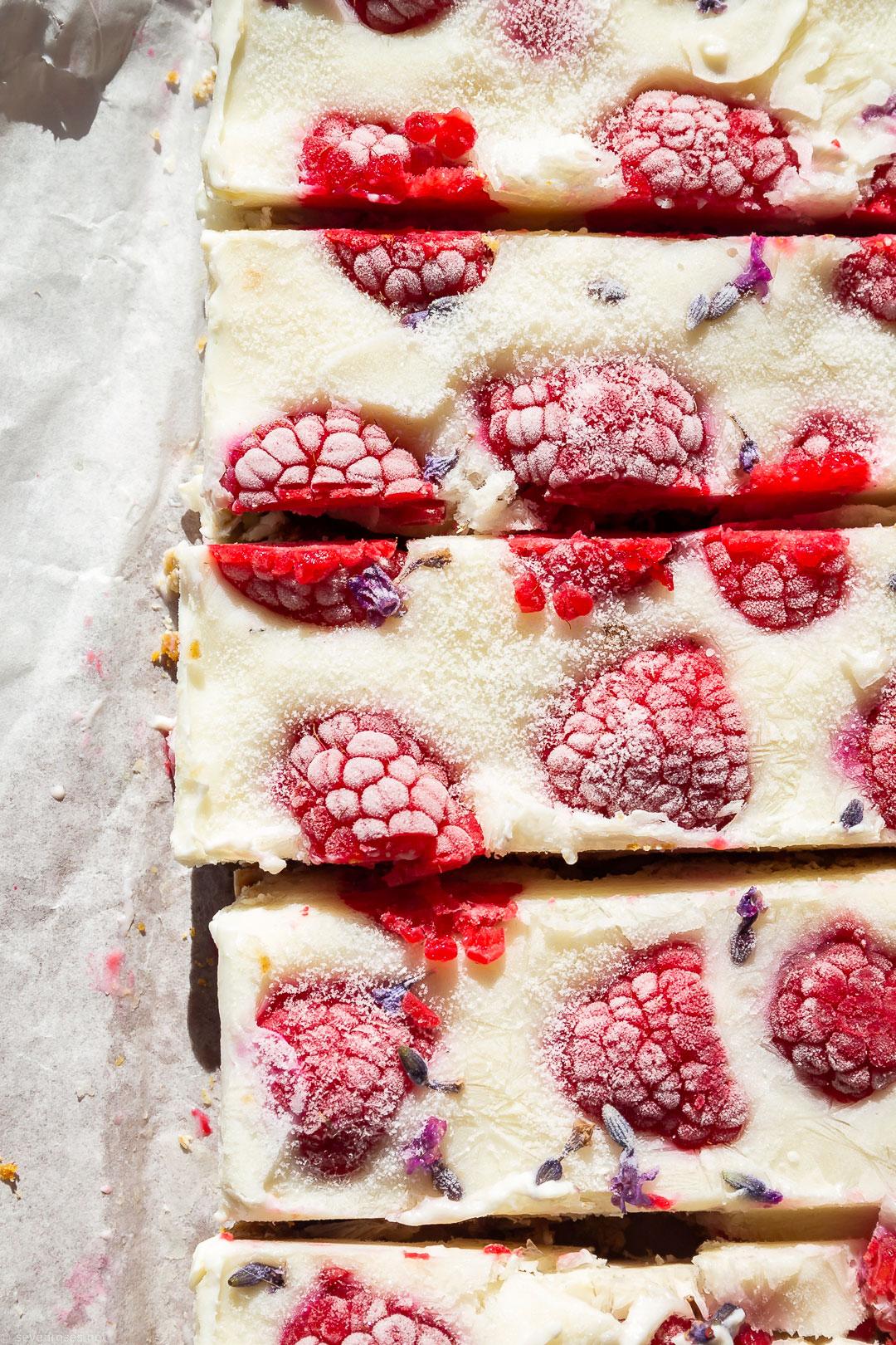 healthy Vegan frozen yogurt & raspberries bars