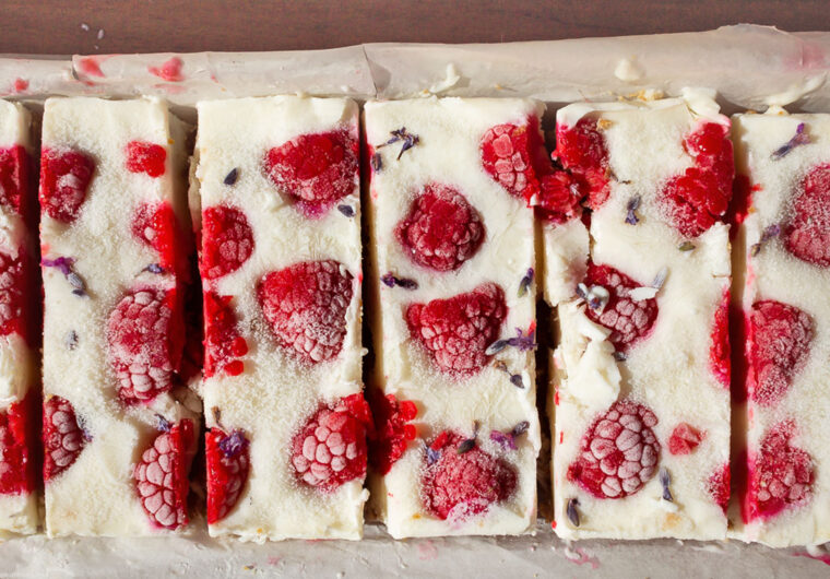 A healthy frozen treat for hot summer day: Vegan frozen yogurt & raspberries bars