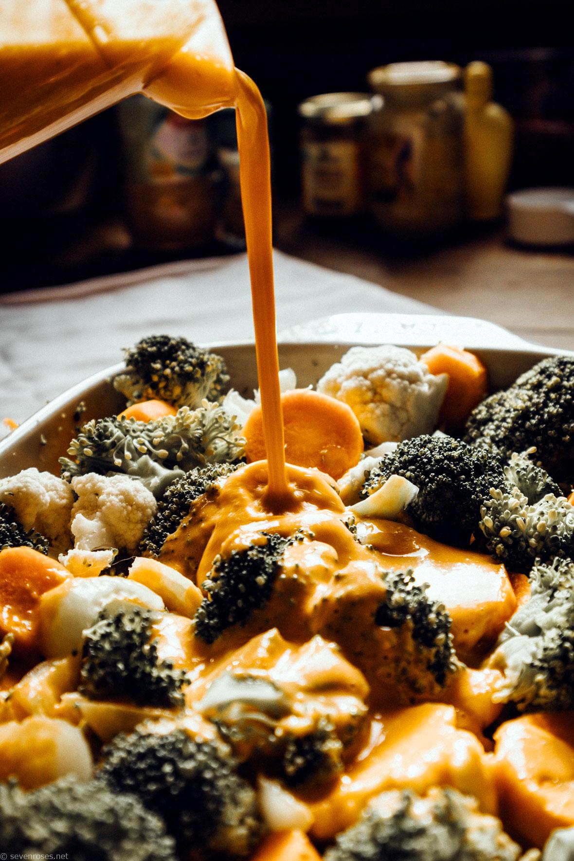 Vegetable Divan cheezy Vegan sauce